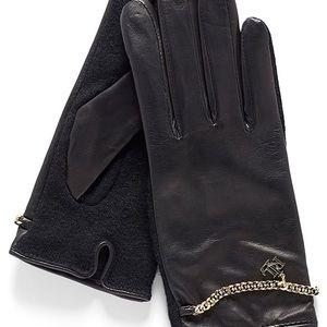 LAUREN RALPH LAUREN Leather gloves w/ gold chain